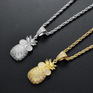 хип-хоп ананаса алмазов кулон ожерелье для мужчин женщин Религия Христианство роскошь ожерелье ювелирных изделий золота гальваническим меди цирконы Twist ч