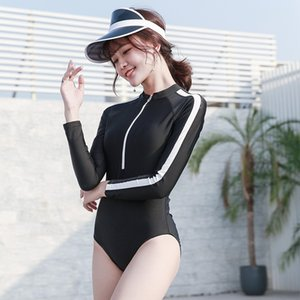 X14R5 2019 sports wind lady one-piece swim long-sleeved surfing jellyfish snorkeling clothes beach sunscreen slim and conservative Sunscreen