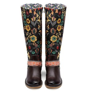 Socofy Vintage Orta buzağı Boots Kadın Ayakkabı Bohemian Retro Gerçek Deri Motosiklet Boots Baskılı Yan Fermuar Arka Botaş X14-81