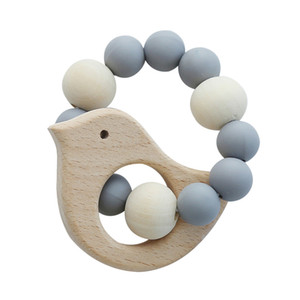 baby nursing bracelets wooden teether newborns silicone chew beads teething wood rattles gift toys children baby play supplies