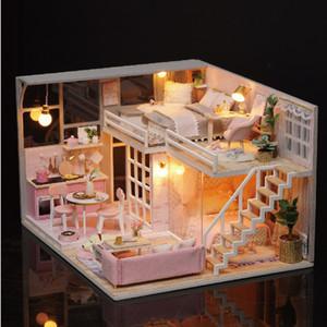 خشبية بيت الدمية DIY مصغرة دمية البنت DREAM LOFT نموذج لعبة البيت بنات ألعاب للأطفال هدايا السنة الجديدة