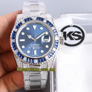 KS situado en el taladro SUB versión personalizada 116619LB-97209 116613LB ETA 2836 automático esfera azul relojes de diseño para hombre del reloj de acero del diamante de la correa