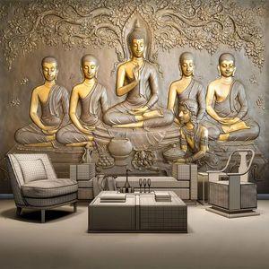 Dropship personalizado Wallpaper Foto Murais 3D Golden Buddha Statue pintura de parede de fundo Sala Study Room Decor Papel de Parede