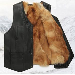 Foto reali Uomini inverno gilet tattico Masculino Giacca in pelle Genuine Fox gilet giacca di pelliccia e maglia di modo cappotto caldo