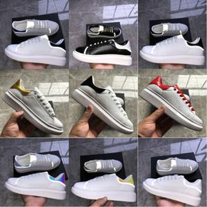 Cordones de los zapatos ocasionales de la plataforma reflectantes para mujer de lujo de cuero Hermosa Balck blanca de oro de la moda Falt zapatillas de deporte de los zapatos del diseñador de los hombres 36-44