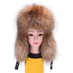 Hiver dames vraie véritable fourrure de raton laveur Chapeau Bomber Couverture en cuir femmes fourrure Cap Coiffures de VF7028