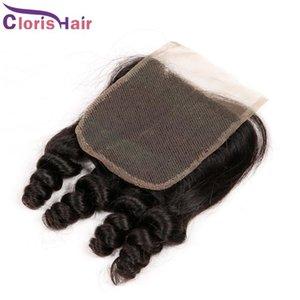 Şişme Spiral Kıvırcık Üst Kapaklar ucuz Malezya Remi İnsan Saç Teyze Funmi İsviçre Dantel Ön Kapanış Parçası Ücretsiz Orta Üç Parça