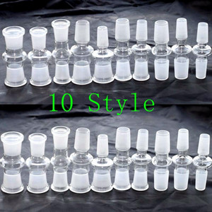 10 Adaptador de Down estilo gota de vidrio para Bong adaptador desplegable al por mayor con el adaptador macho a macho a hembra adaptador de 18mm 14mm