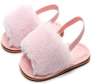 HONGTEYA Bebés Meninas Sandals macia Soled Faux Fur infantil da criança Verão bebê Mocassins Sapatos Chinelos DHL Shipping