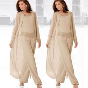 Mère Champagne millésimé à manches longues de Epoux Costumes Pantalons avec de longues en mousseline de soie Wrap 3 Pièces Mère costumes officiels