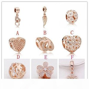 2020 Newest Real 100% 925 Sterling Silver Rose Gold Charm Beads with Dazzling CZ Fit Pandora Charms Bracelet Necklace DIY Jewelry Making