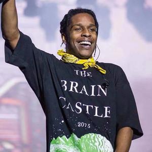 ASAP Rocky Hip Hop camisa T CEREBRO CASTILLO 2075 Imprimir Negro camiseta de los hombres Streetwear Tops nuevo diseño Overszied Tee Shirts HFLSTX505