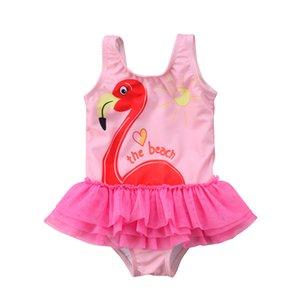 2018 Adorable Kid Baby Girl Flamingo Skirt Tankini Swimwear Pink Bodysuit The Beach Swimsuit Bikini Cute Beachwear Summer Cloth