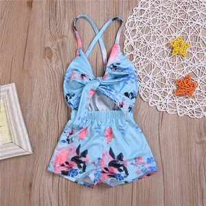 Infant Baby Girl Floral Romper Sleeveless Belt Bowknot Jumpsuit Outfits Sunsuit 0-3Y Clothes