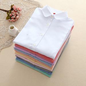Eym Marque 2019 Nouvelles Femmes Blouse Chemises Oxford Coton À Manches Longues Dames Blanc Chemise Décontractée Plus La Taille Blouses Vêtements de Femme Tops Y190510