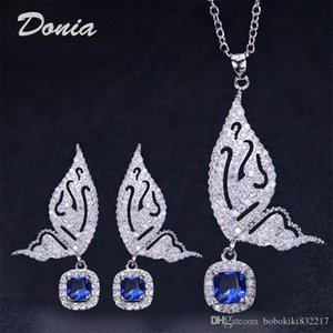 Donia jewelry fashion beautiful butterfly earrings necklace two piece wedding jewelry ladies banquet set decoration gift