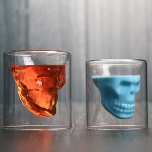 Crystal Skeleton Water Cup Skull Transparent Wine Cup Skull Glass Shot Cerveza Whisky Vasos Creativo Bar Fiesta Drinkware BC BH1158