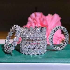 2019 Mejor ventas de joyería de lujo real regalo Anillo plata de ley 925 Topaz blanco diamante de la CZ piedras preciosas Promise Eternidad mujeres novia de la boda
