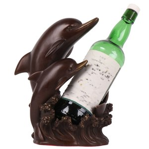 MOZART Bronze Pure Copper Creative Dolphin Wine Rack Home Decoration Living Room Wine Cabinet Display