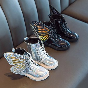 2020 Новые моды девочек кожаные сапоги принцесса обувь Дети Дети Девушки Крылья бабочки Съемные WRAM Zip Короткие сапоги обувь