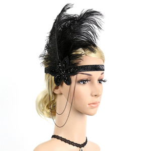 Snowshine YLW 1920s Headpiece Flapper Pena Headband Grande Cocar Gatsby Do Vintage freeshipping