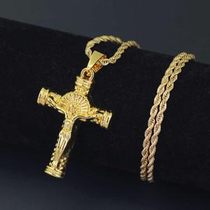 hip hop Jesús cruz collares pendientes para los hombres de aleación de oro dios cristianismo collar de lujo cadenas cubanas religión joyería envío gratis