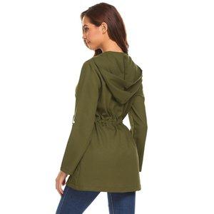 Mulheres Leve Com Capuz Roll Up Sleeve Zip Up Com Cordão Casual Trench Coat Altura 176 cm Busto 88 cm Cintura 59 cm Quadril 90 cm