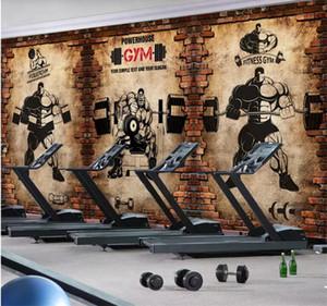 3d обои на заказ 3d Фрески обои 3d Gym ностальгия кирпичной стены ретро спортивного фитнес клуба атлетики фона декора стены