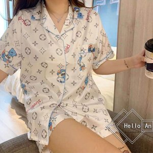 2020 New Summer ice pajama thin style cow female short-sleed-sets two sets web celebrity with the summer leisure wear women