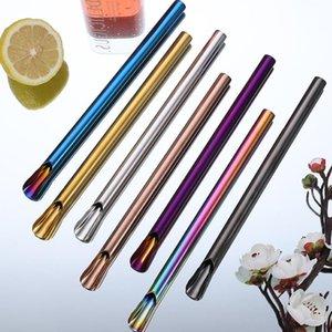 New Eco Friendly 21.5 * 1cm Métal Paille 304 Boisson en acier inoxydable pour Shakes Pailles smoothies réutilisable Pailles ZZA1874