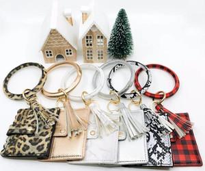 Leopard Snakeskin Camo Plaid PU-Leder Tassel Wrist Kreditkarte-Beutel personalisierte Brieftasche ID Halter Armband Quaste Schlüsselanhänger PU-Leder Kredit