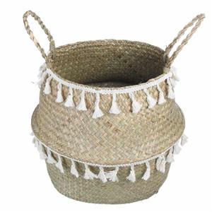 Paniers à la main en bambou de stockage panier en osier de jardin Pot de fleurs panier à linge Container Toy Holder avec blanc Tassel