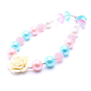 Cute sweet flower pendant girls necklace blue&pink pearl bubble gum beads strand child chunky necklace jewelry