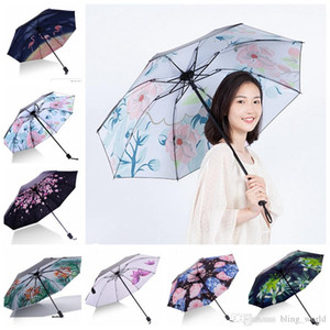 Umbrellas Folding Rain Women Umbrella Anti-UV Lady Parasol Portable Travel Umbrellas Sun Rainny Unbrella 23 Designs Wholesale YW3846