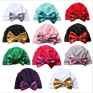 Bebek Sequins Bow Turban Kızlar Hindistan Şapka Pleuche Düğümlü Katı Kafatası Yenidoğan Şapka Bebek Kış Beanie Bebek Moda Aksesuar E6744 Caps