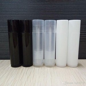 5ML Cosmetic Empty Chapstick Lip Gloss Lipstick Balm Tube and Caps Container black white clear color A359