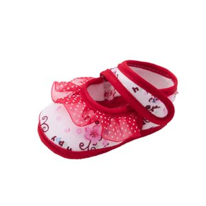 LONSANT Infant Baby Crib Shoes Girls Lace Shallow Floral Print Calzature moda Neonato prewalker cotone Morbida Suola Scarpe