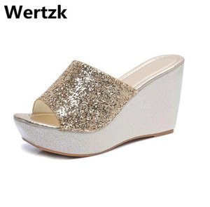 Wertzk femmes chaussures pantoufles coin d'été 2019 nouvelle mode des femmes sandales à talons hauts bowknot été plage simple, douce Slipper E247