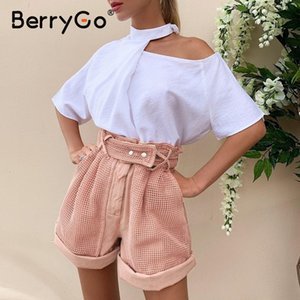BerryGo Casual pink women high waist shorts Hollow out button cotton shorts 2020 Spring summer party ladies short sexy shorts Y200511