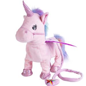 새로운 핫 판매 가죽 끈 유니콘 플러시 인형 산책 엉덩이를 부르다 수있는 박제 동물 전기 봉제 인형 장난감 어린이 크리스마스 선물!