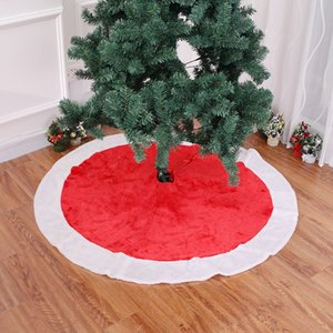 120cm Lovely Red Non-Woven Christmas Tree Falda Delantales Golden Edge Santa Snowman Decoration Home Xmas Tree Skirt Año Nuevo