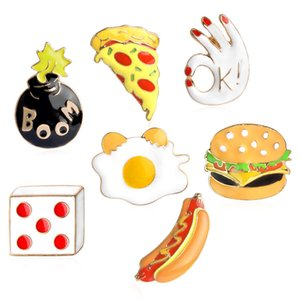 Pizza Hamburgers Hot Dogs brooch Poached Eggs Dice Bombs Enamel Pin Hat Shirt Collar Bag Chain Brooch Fast Food Jewelry drop shipping
