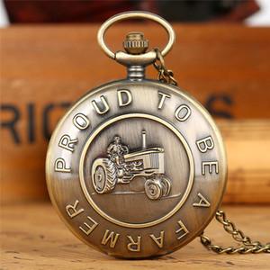Steampunk Retro Proud To Be Цепочка Farmer карманные часы Бронзовый Vintage Analog Quartz Fob часы ожерелье Часы Часы Подарок