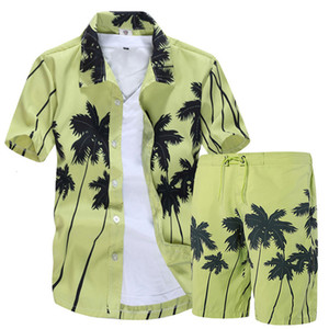 Mens camisas havaianas Set Moda floral do verão camisas Men + Imprimir Sets Praia Shorts manga curta Mens Treino