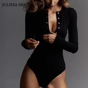 Großhandels-JULISSA MO Sexy V-Ausschnitt Strick Bodysuit Frauen schwarze lange Hülsen-Buttons Strampler Frauen Overall 2018 beiläufige Ein-Stücke Bodysuits