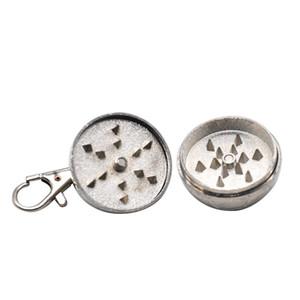 Metal 2-piece Anahtarlık Herb Öğütücü 35mm Mini Çinko Alaşım Bitkisel Duman Öğütücü Metal Tütün Herb Öğütücü Tütün Herb Kırıcı Muller
