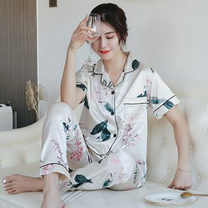 2019 Summer Silk Satin Short Sleeve Long Pants Pajamas Sets for Women Sleepwear Pyjama Loungewear Homewear Pijama Mujer Clothes T200707