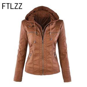 Ftlzz 2018 moda chaqueta de cuero con capucha caliente otoño invierno Streetwear cremallera manga larga abrigo cálido