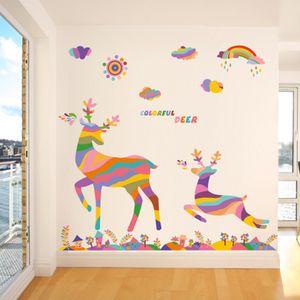 20190621 céu dos desenhos animados colorido veados parede pintura