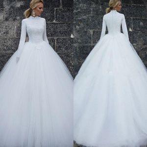 2019 musulmani abiti da sposa d'epoca maniche lunghe ad alta collo Semplici donna Abiti da sposa Custom Made abiti da sposa lungo